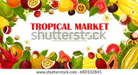 Exotic fruits poster for tropical farm market. Vector design carambola, maracuya and durian or papaya, banana and kiwi or lychee and rambutan, Fresh juicy dragon fruit, mangosteen and guava or orange