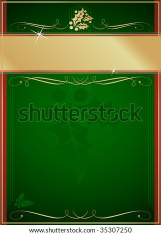 Exotic Green and Red Holly and Flourish Adorned Christmas Card or Tag. See my color and design variations on this theme. - stock vector