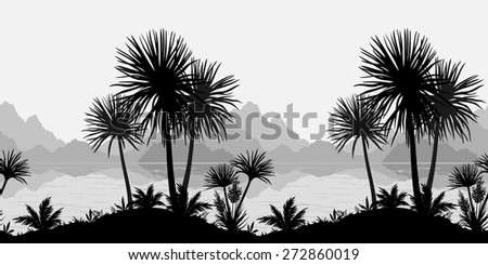 Exotic horizontal seamless landscape, palm trees, plants, sea and mountains black and grey silhouettes. Vector