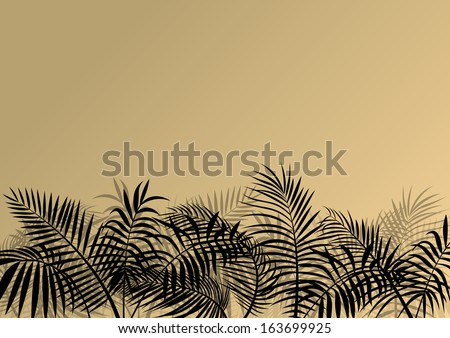 Exotic jungle forest plants, leafs and grass detailed silhouette landscape illustration background vector - stock vector