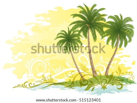 Exotic Landscape, Green Tropical Palms Trees and Floral Pattern on Yellow and White Background. Eps10, Contains Transparencies. Vector