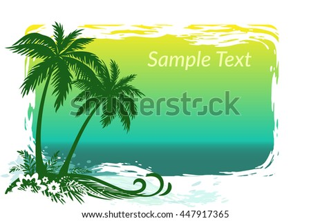 Exotic Landscape, Tropical Palms Trees, Flowers and Grass Silhouettes on Sea Background. Eps10, Contains Transparencies. Vector