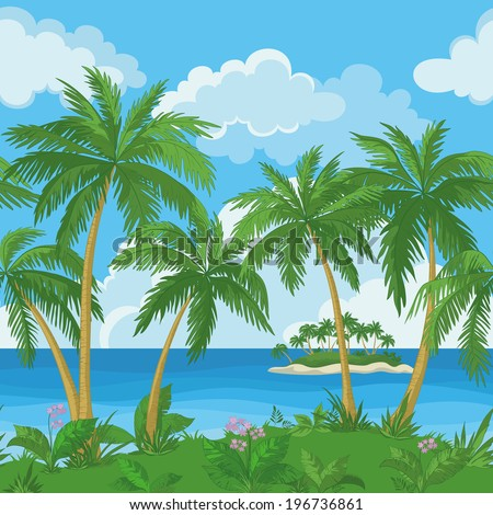 Exotic seamless background, tropical landscape, sea island with green palm trees and flowers and cloudy sky. Vecto - stock vector