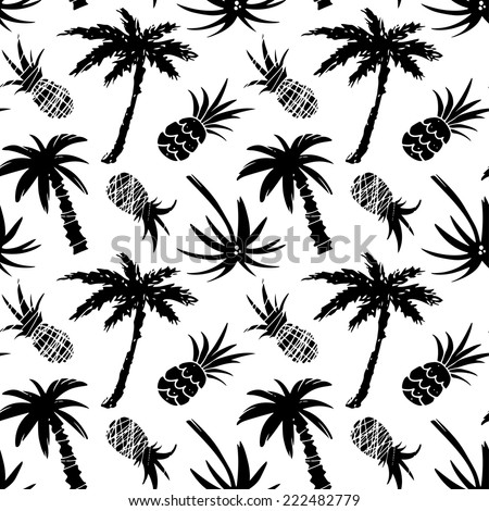 Exotic seamless pattern with silhouettes tropical coconut palm trees and pineapples. Forest, jungle repeating background. Abstract print texture. Cloth design. Wallpaper  - stock vector