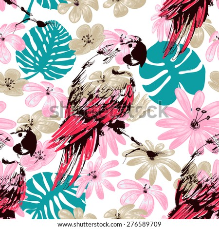 Exotic summer seamless pattern, flowers leaves and parrots - stock vector