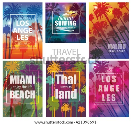 Exotic Travel Backgrounds with Palm Trees .  Vector Prints for T-shirt.