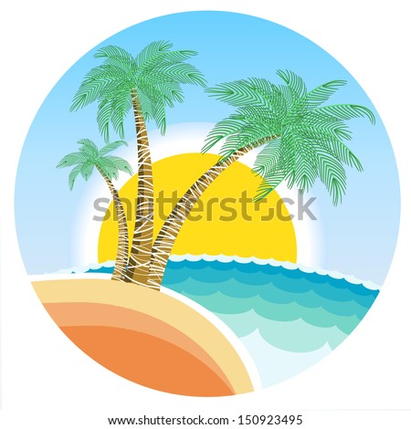 Exotic tropical island with palms and sun on round symbol background.