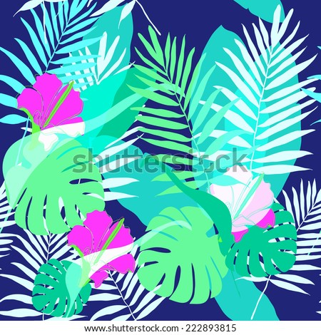 Exotic tropical leaves pattern. - stock vector
