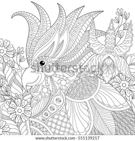 Exotic Zentangle Cockatoo Parrot Adult Anti Stock Vector
