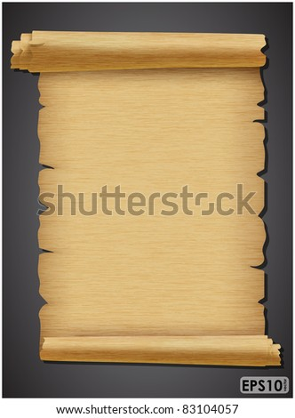 Expand torn sheet of parchment with a rough texture on a dark background - stock vector