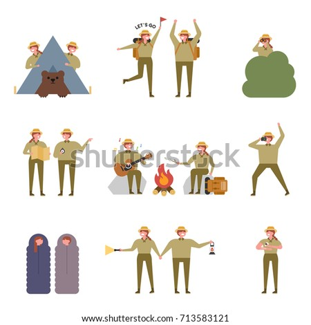 expedition couple character vector illustration flat design