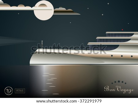 Expensive yacht with exclusive design and metallic coating sails on the sea. Night seascape scene. Great use as a poster or touristic postcard. Vector illustration eps10 - stock vector
