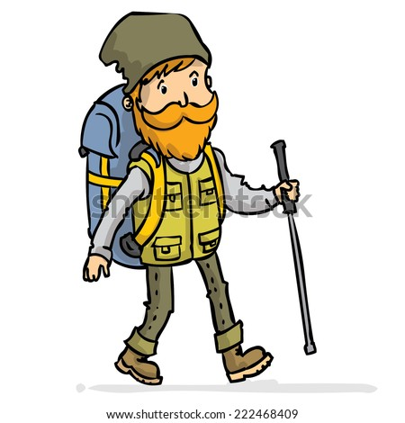 Experienced traveler with a backpack and hiking stick. Hand drawn cartoon colorful vector illustration.