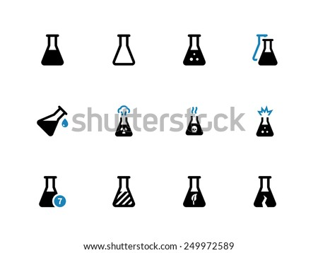 Experiment flask duotone icons on white background. Vector illustration. - stock vector