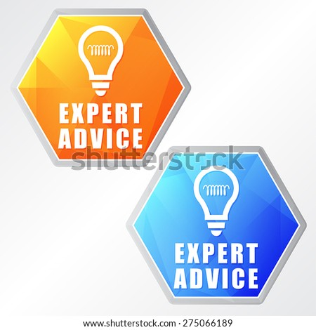 expert advice and bulb symbols - two colors hexagons web icons with signs, flat design, business service support concept, vector - stock vector