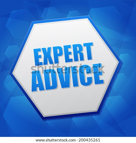 expert advice - business consult concept word in hexagon over blue background, flat design, vector - stock vector