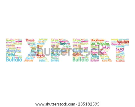 EXPERT travel concept made with words cities names, vector collage - stock vector