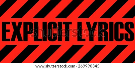 Explicit Lyrics Red Warning Tag, Vector Illustration.