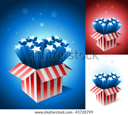 Exploding American star box. All elements are layered and grouped in vector file. - stock vector