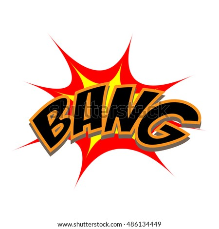Exploding cartoon bang text caption vector illustration