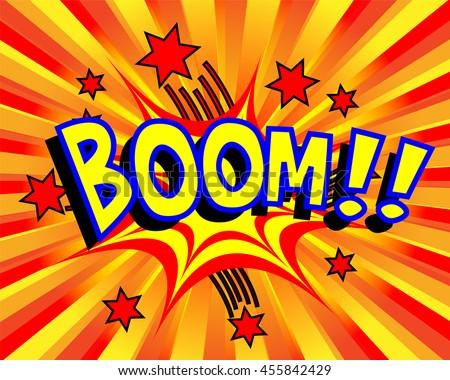 Exploding cartoon boom text caption vector illustration - stock vector