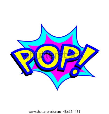 Exploding cartoon pop text caption vector illustration
