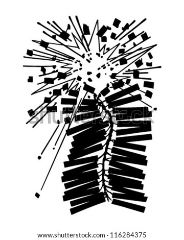 Exploding Firecrackers - Retro Clipart Illustration - stock vector