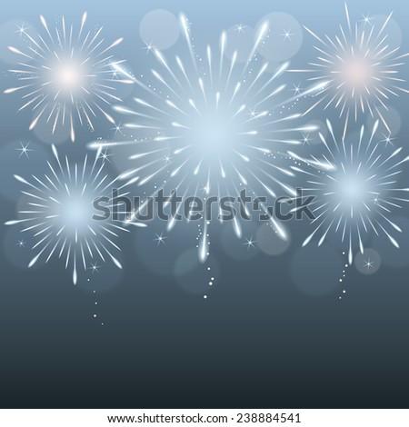 exploding fireworks on dark blurry night sky background. vector. - stock vector