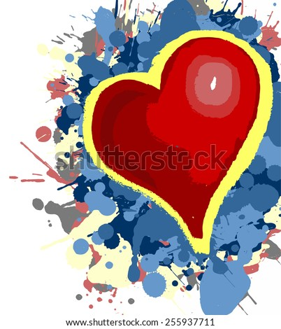 Exploding heart of colors - stock vector