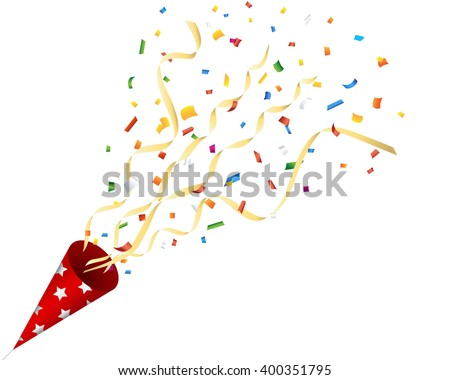 Exploding party cracker with confetti and streamer on white background