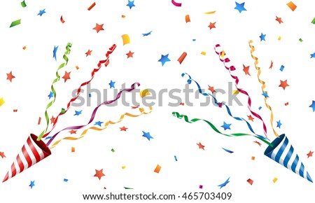 Exploding party popper with confetti and streamer