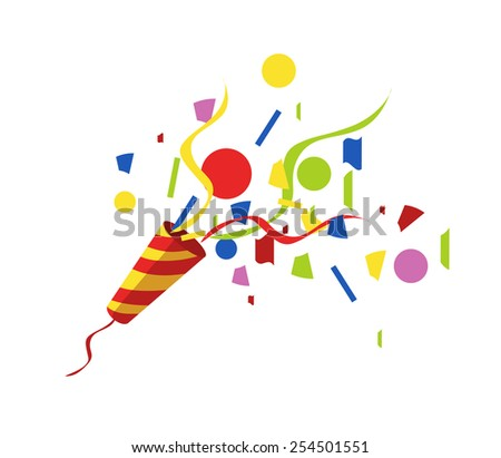 exploding party popper with serpantin and serpantinom, vector eps10 illustration - stock vector