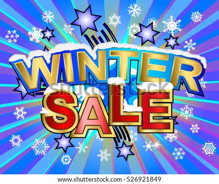 Exploding Winter sale snowy text colorful action vector illustration