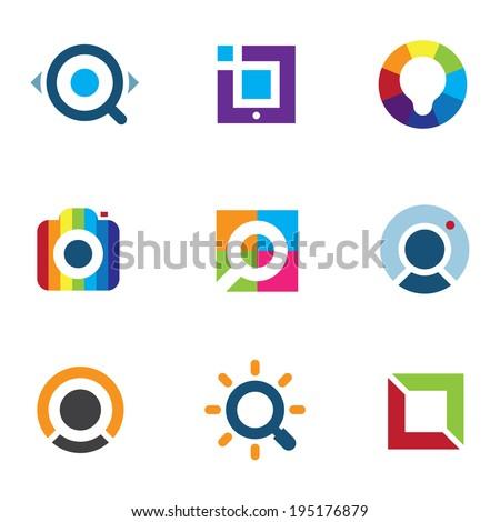 Explore fun colorful world social internet community network logo icon - stock vector