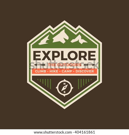 Explore the outdoors badge graphic with mountains