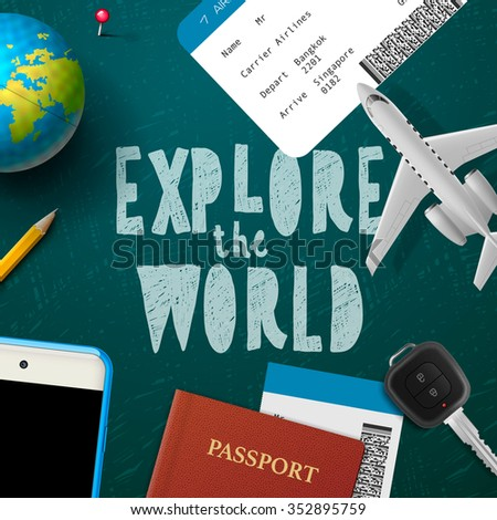 Explore the wold, travel and tourism background, vector illustration.