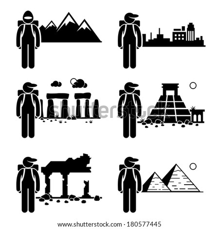 Explorer Adventure at Snow Mountain City Ancient Ruins Stone Temple Egypt Pyramid Stick Figure Pictogram Icon - stock vector