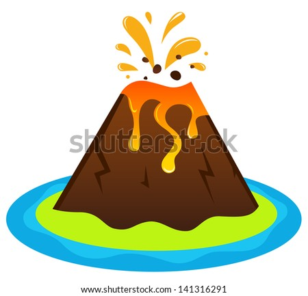 Explosing volcano island isolated on white - stock vector