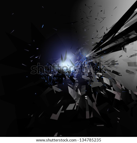 Explosion in space, Tech Background,vector eps10 - stock vector