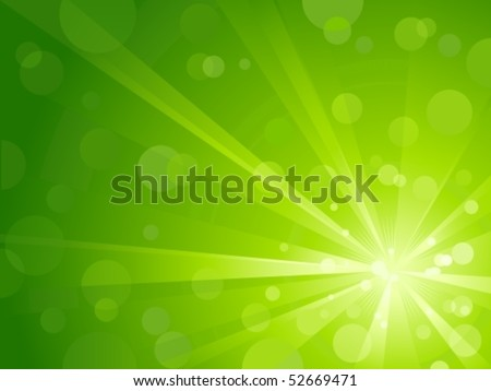 Explosion of light with shiny light dots, striking abstract background in shades of green. Use of radial and linear gradients, global colors. No transparencies. Artwork grouped and layered. - stock vector