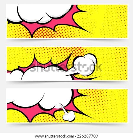 Explosion steam bubble pop-art web header set - funny funky banner comics background. Vector illustration - stock vector