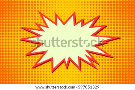 Explosion vector illustration. Retro pop art speech bubble with dots. Comic book fight stamp for card Superhero action frame background. Sun ray or star burst element.