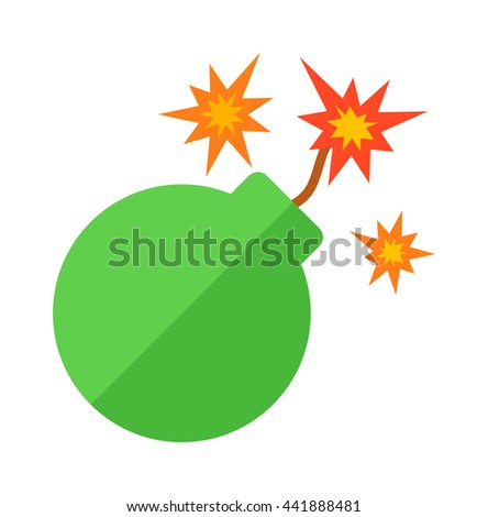 Explosive bomb military and army weapon. Soldier combat bomb gun. Grenade armed attack explode. Destruction steel bomb equipment. Grenade bomb explosion weapons vector. - stock vector
