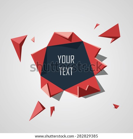 Explosive low poly object creating hole in background. 3d polygonal concept suitable for advertising and promotion. Eps10 vector illustration. - stock vector