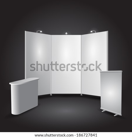 Expo stand exhibit illustration - objects all separated - stock vector