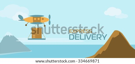 Express delivery anywhere in the world. Fast delivery vector banner for web sites or graphic printed material. Express delivery banner. Delivery service. World Wide Delivery. Air Post, Air Delivery.  - stock vector