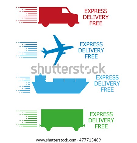 Express delivery free four transport vehicle on white backgrund
