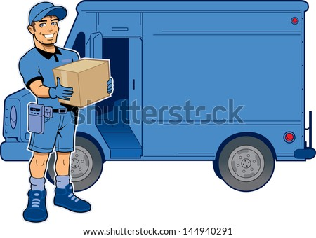 Express Delivery Man Holding a Package, Standing in Front of His Truck - stock vector