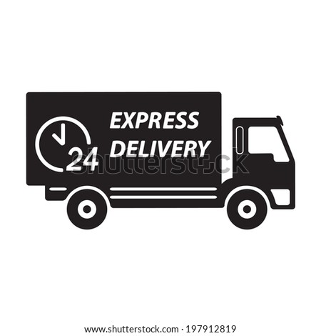 Express delivery or logistic icon or sign. 24 hours shipping truck. Vector.