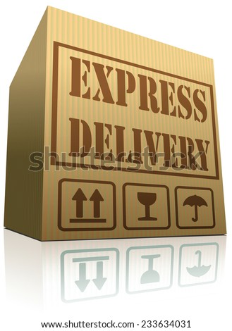 express delivery package shipping from online web shop order cardboard box with text